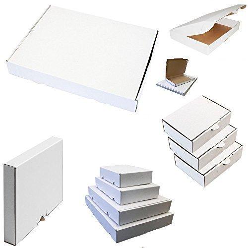 100x Großbrief Kartons Post Warensendung Päckchen Versand Versandkartons Faltkarton Postkarton 230 x 160 x 20 mm Weiß -
